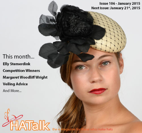 The cover of HATalk e-magazine Issue 106. Published in January 2015. Cover hat by Elly Stemerdink.