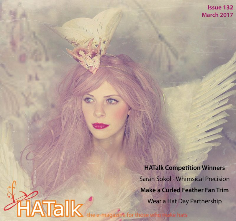 HATalk Issue 132 - March 2017. Cover hat by Sarah Sokol Millinery, Image by Brande Wilkerson on Victory Vintage Boutique