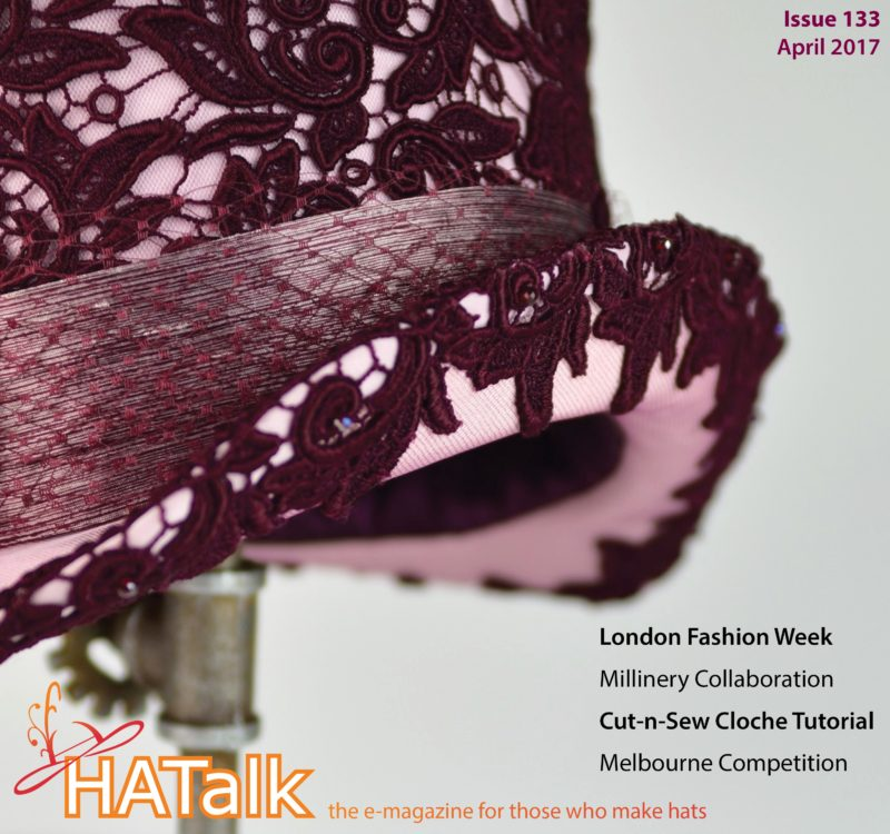 Hat by Kimberly Andert for cover of HATalk Issue 133 (April 2017), featuring a cloche project by MJ Baxter.