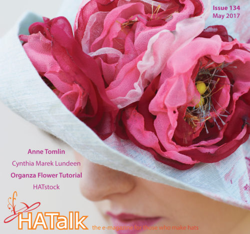 HATalk Issue 134, cover cloche hat with burnt organza flowers by MJ Baxter.