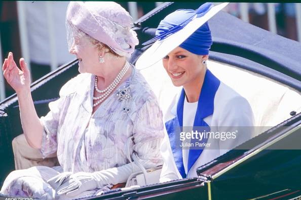 Royal Ascot Fashion - Princess Diana and the Queen Mother, Getty Images